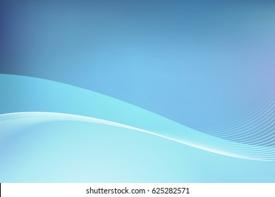 Elegant Abstract Background in Blue Color, Vector Backdrop with Illustration of Sky and Water.