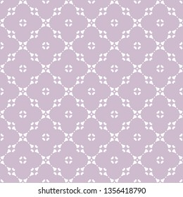 Elegant abstract floral seamless pattern. Subtle lilac and white geometric ornament. Simple background with flower silhouettes, curved shapes, grid, net, repeat tiles. Cute ornament. Repeated design