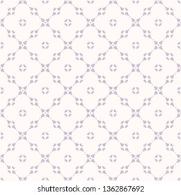 Elegant abstract floral seamless pattern. Subtle lilac and white geometric ornament. Simple background with flower silhouettes, curved shapes, grid, net, repeat tiles. Oriental style decorative design
