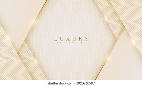Elegant abstract gold background with shiny elements cream shade. Realistic Japanese luxury paper cut style 3d modern concept. vector illustration for design.