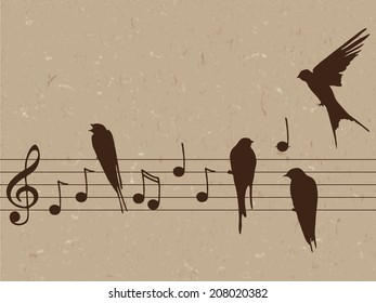 Elegant abstract illustration of music notes with birds