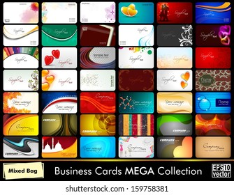 Elegant Abstract Vector Business Cards set in various concepts.