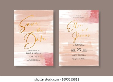 Elegant abstract watercolor on wedding card invitation