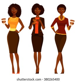 elegant African American women enjoying coffee