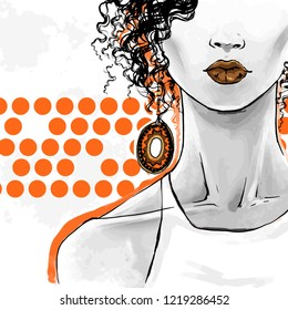 Elegant afro woman with curly hair, sensual lips and  big ethnic earrings. Vector fashion illustration, freehand drawing. Poster art for beauty shops, hairdressers.