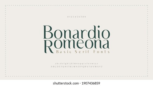 Elegant alphabet letters font and number. Classic Lettering Minimal Fashion Designs. Typography modern serif fonts decorative vintage wedding concept. vector illustration - Shutterstock ID 1907436859