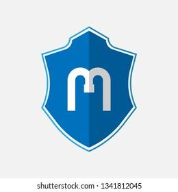 elegant alphabet monogram letter M logo with cool blue color. logo concept with polygonal badge. vector illustration