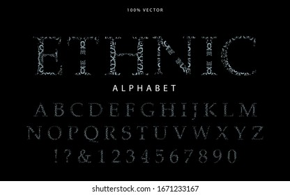 Elegant Alphabet with traditional ethnic style concept. Luxury vector Letter and number typography design can use uppercase, lowercase, headline poster, comic, movie