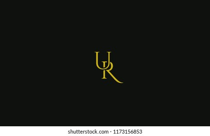 Elegant Alphabetical U R ,U,R vector designs in yellow color with black background