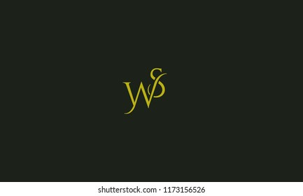 Elegant Alphabetical W S ,W,S vector designs in green color with black background