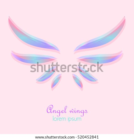 Elegant Angel Holographic Wings On Pink Background Abstract Logo Design Stock Vector Illustration