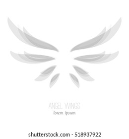 Elegant angel wings in gray colors isolated on white background. Abstract logo design. Stock vector illustration.