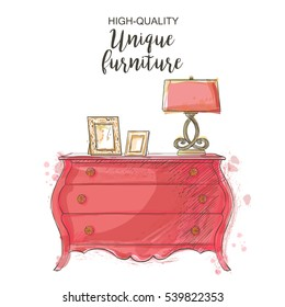 Elegant antique vintage vector chest isolated sketch hand drown furniture doodles, store, apartment, promotion, sale, ads