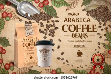 Elegant Arabica coffee beans ads, engraving style coffee plants with takeaway cup and packaging in 3d illustration