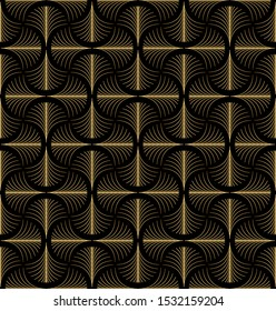 Elegant Art Deco style seamless repeat pattern with golden fan shaped motifs on black background. Black and gold geometric vector pattern.