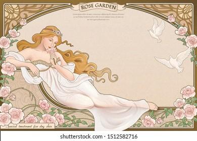Elegant art nouveau style goddess lying nearby roses garden with elaborated frame