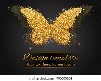 Elegant autumn background with shining gold butterfly. Vector illustration. Golden butterfly on dark background.