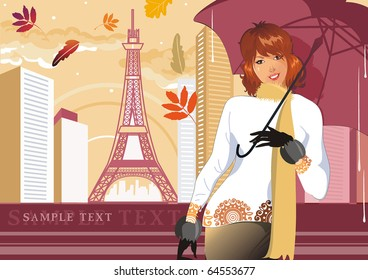 Elegant autumn girl. Fashion woman with umbrella in city. Vector illustration concept.