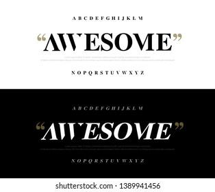 Elegant awesome alphabet letters font set. Classic Lettering Minimal Fashion Designs. Typography fonts regular uppercase. vector illustration