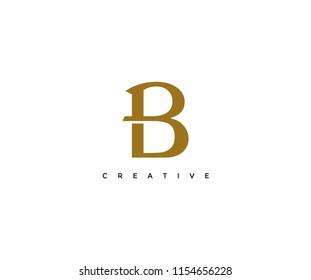 elegant B gold color vector logotype