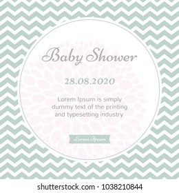 Elegant baby shower greeting card with flower and zigzag background