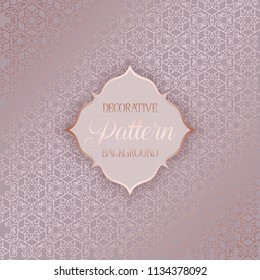 Elegant background with decorative rose gold pattern