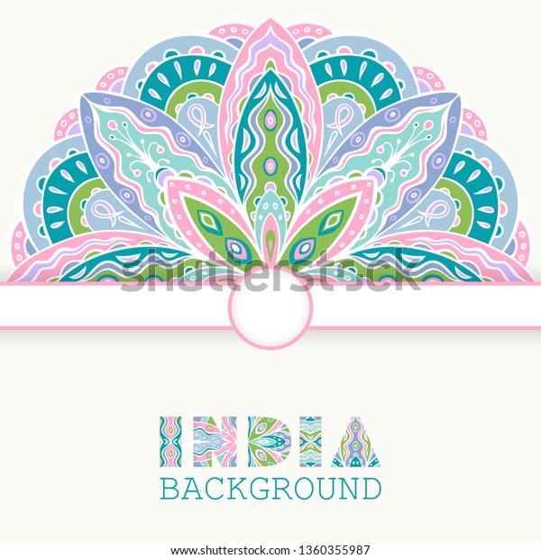 Elegant Background Ethnic Indian Pattern Card Stock Vector