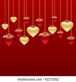 elegant background with gold and red hearts