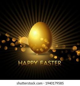 Elegant background with golden Easter egg and bokeh lights