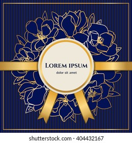 Elegant background with golden ribbons and golden floral garland for your invitation, flyer or greetings card. Luxurious navy and gold floral template.