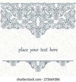 Elegant background with lace ornament and place for text.