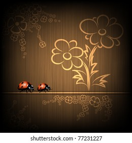 Elegant background with lady bugs and flowers