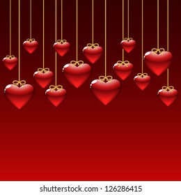 elegant background with red hearts. vector illustration