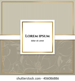 Elegant background for your invitation, label, sticker, flyer or greetings card. Luxurious gray template.