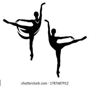 elegant ballerina girl standing in arabesque position on pointe shoes - graceful ballet dancer black and white vector silhouette outline