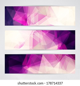 Elegant banners with light and dark pink transparent polygonal shapes