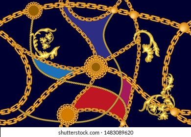 Elegant baroque print with cords and chains. Seamless pattern with jewelry elements. On black background.