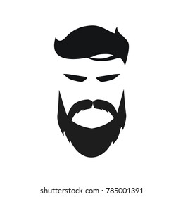 Elegant bearded man face in sunglasses. hipster character. Fashion silhouette, avatar, emblem, logo with moustached man for barbershop design.  eps 10 eps 8
