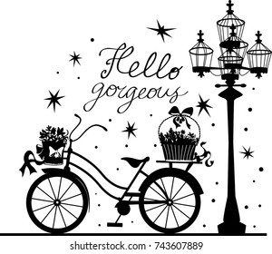 Elegant beautiful bicycle with bouquets. Stylish retro beautiful model for fashion design. Stylish illustration. Elegant vector style.