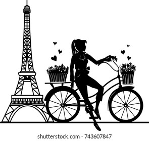 Elegant beautiful girl on a bicycle with bouquets. Stylish retro beautiful person for fashion design. Stylish illustration. Elegant vector style.