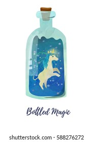 Elegant and beautiful rearing unicorn casts magic in the bottle.