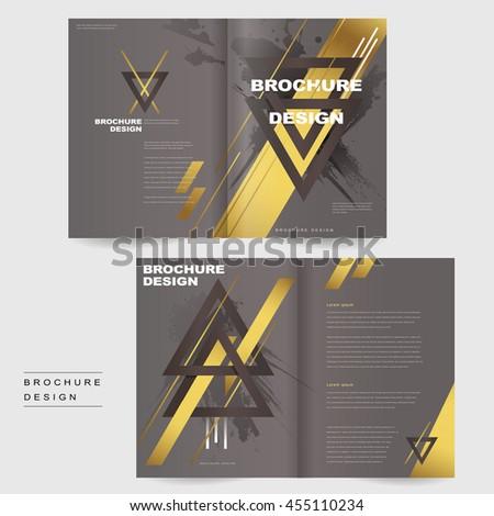 Elegant Bifold Brochure Template Design Triangles Stock Vector ...