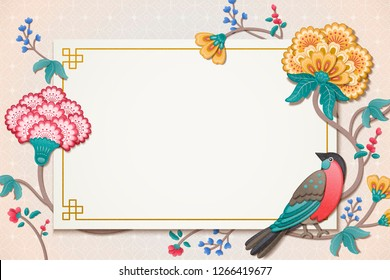 Elegant bird and flower painting in clay style, wallpaper for design uses