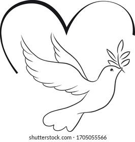 Elegant, bird, symbol, vector illustration