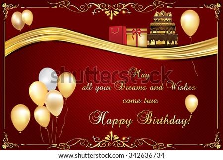 Elegant Birthday Card Print Happy Birthday Image Vectorielle De
