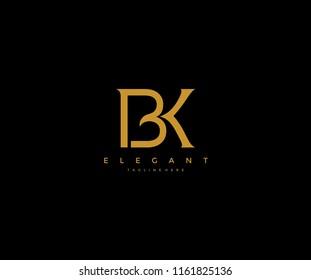 Elegant BK B K Letter Linked Monogram Logo Design