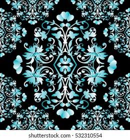Elegant black baroque damask vintage vector seamless pattern background wallpaper illustration with antique floral medieval  blue 3d decorative flowers,leaves and damask ornaments.