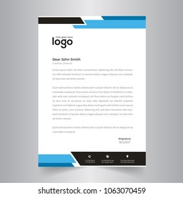 elegant black & blue letterhead template design