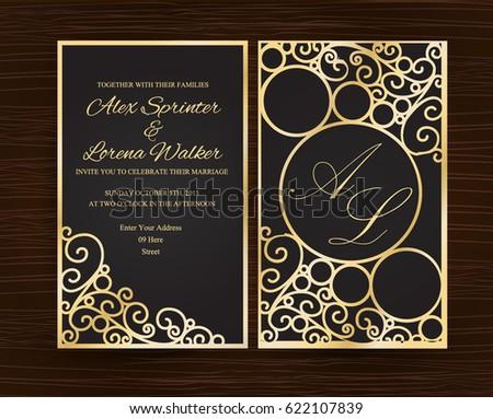 Elegant Black Gold Wedding Invitation Stock Vector Royalty Free