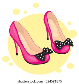 Elegant black high-heeled shoes and a red rose